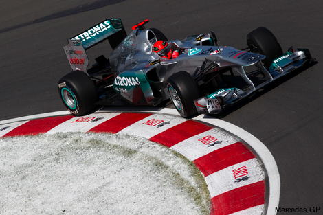 Michael Schumacher's Mercedes at an apex