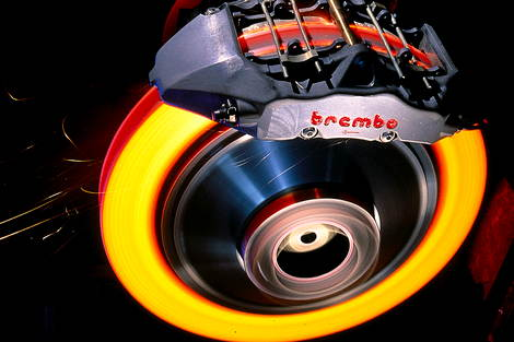 hot Brembo disc brake